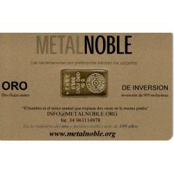Lingote Oro de 2 gramos en targeta de plastico identificativa